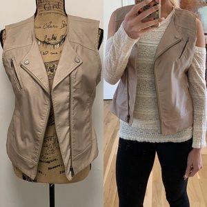 Tan Faux Leather Vest